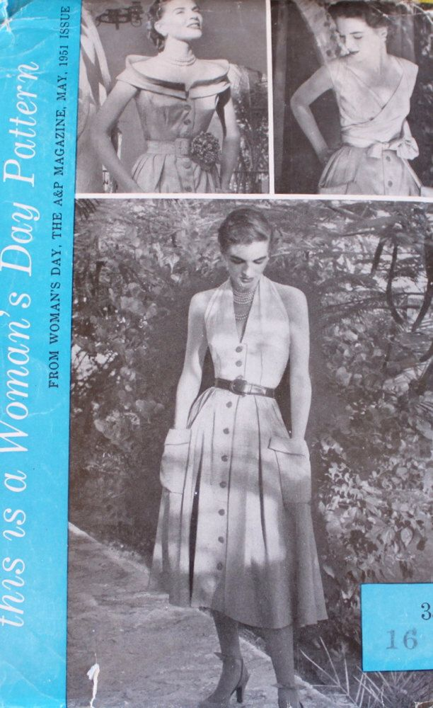 1950s Dress Sewing Pattern | Woman\'s Day 5010 | Halter or Wrap ...