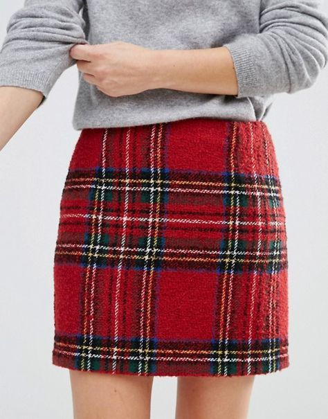 Red tartan checked skirt with light grey jumper