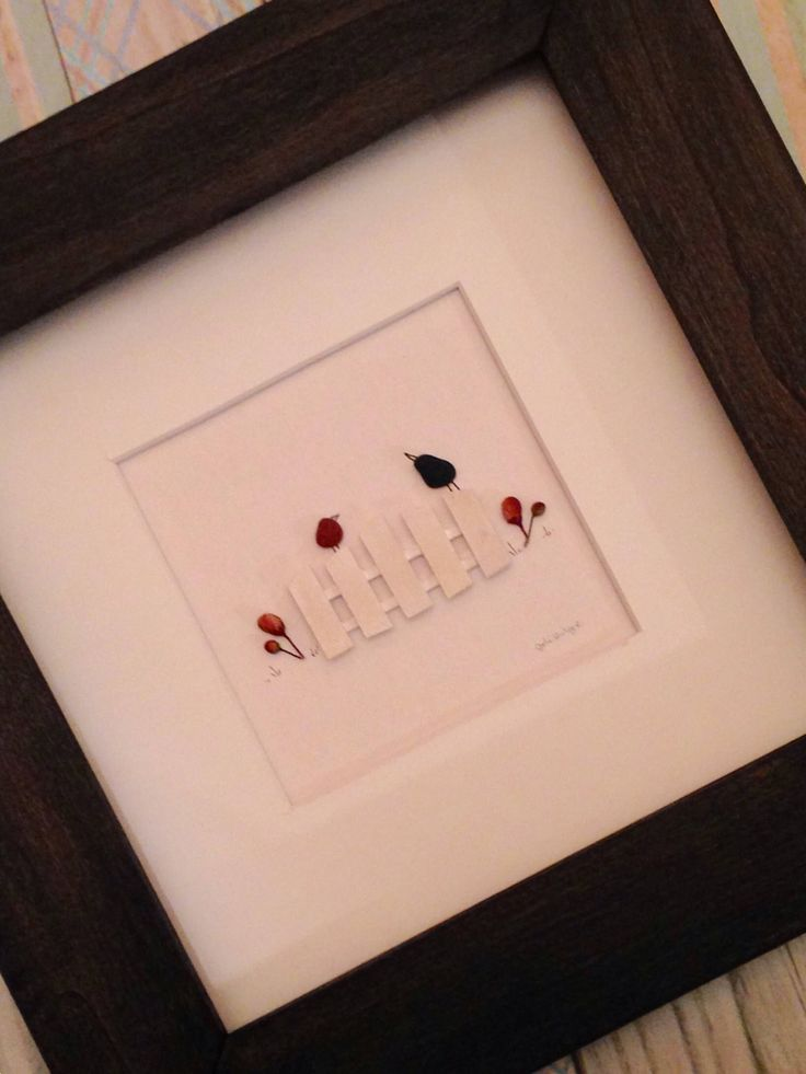 8 x 8 Framed Picture, Original Art for Sale, Birds on fence - by Jodi Bolger with handmade frame in your choice of stain color by PebbleArtByJodi on Etsy https://www.etsy.com/listing/561062801/8-x-8-framed-picture-original-art-for