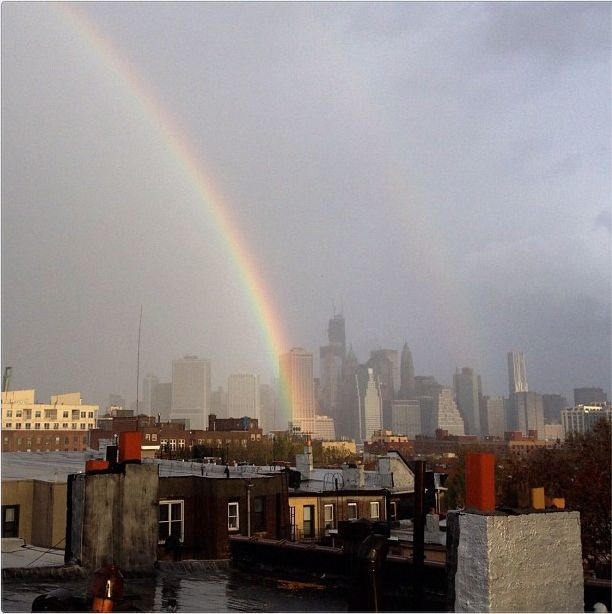 Double-rainbow after Hurricane Sandy. Symbols of good luck.