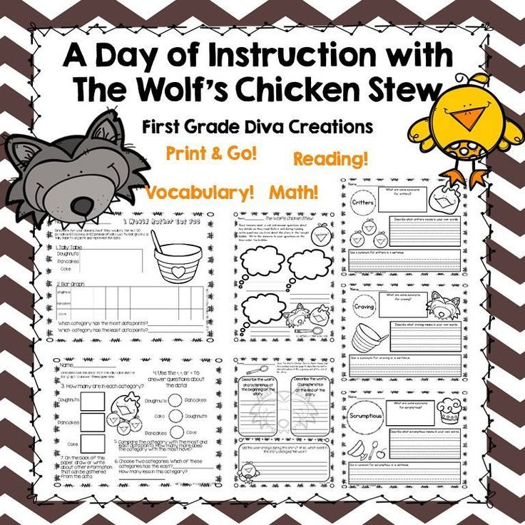 $This mini literature resource is inspired by The Wolf's Chicken Stew by Keiko Kasza. It includes an entire day of instruction perfect for first or second grade students. Reading comprehension, vocabulary, writing, and math instruction are all included.