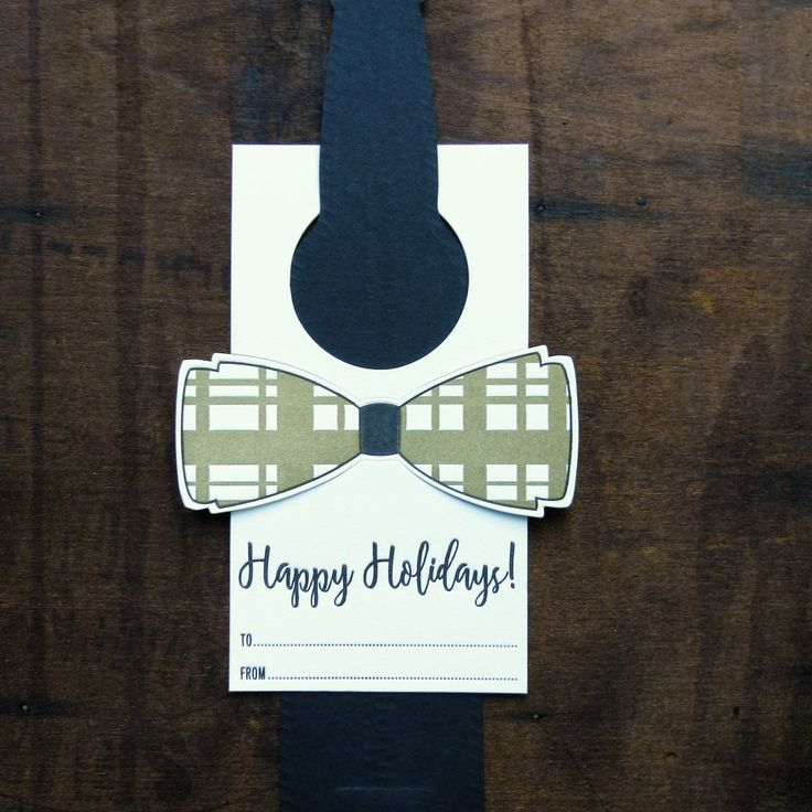 Happy Holidays Letterpress Bottle Bow Tie by Typothecary Letterpress