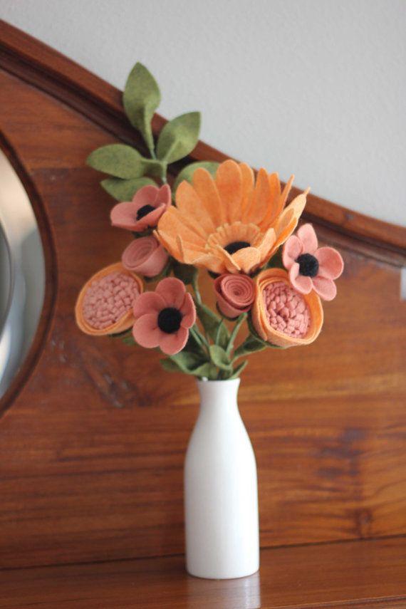 Orange / Pink Felt Flower Arrangement Featuring by TheFeltFlorist