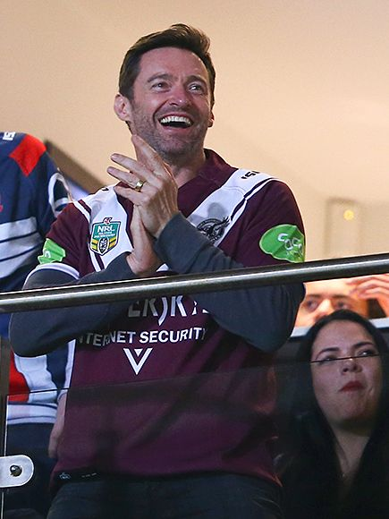 Star Tracks: Friday, August 28, 2015 | GAME ON | Hugh Jackman shows some team spirit at a National Rugby League match in Sydney, Australia, on Friday.