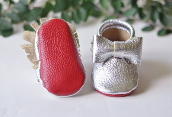 Red Bottom Baby Moccasins. Baby / Toddler by ADayInSummer on Etsy