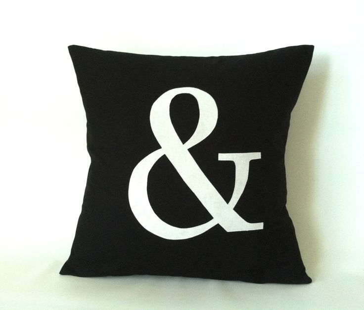 Monogram Letter Pillow Cover -  20 x 20 One And Sign Pillow & Pillow Ampersand Pillow Black White Modern Pillows Custom Cushion Cover (45.00 USD) by PillowStyles