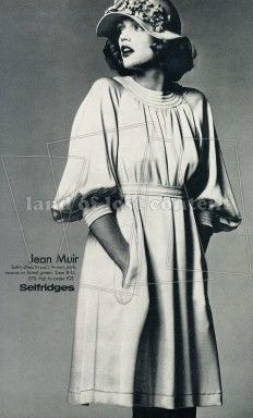 1973, Selfridges advert with a Jean Muir grecian style dress