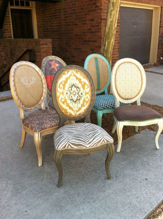 Throne Dining Chairs Texas Decor French Painted Chalk Paint Eclectic Bohemian Flag Animal Print Set Accent