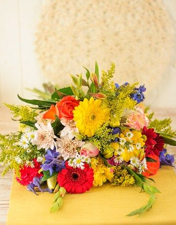 Mixed Bouquet of Bright Flowers