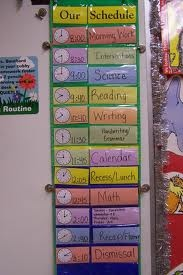 classroom schedule  I want something like this in our prek classroom- with the clock faces instead of numbers. :)
