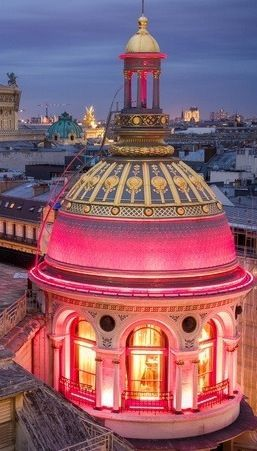 ♔ Pink Lighted dome - Paris, France