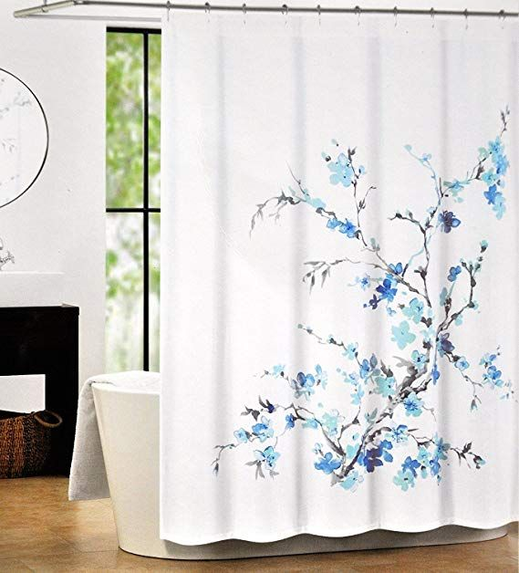 Tahari Luxury Cotton Blend Shower Curtain Printemps Turquoise Blue Grey Floral Branches By T Black Shower Curtains Fabric Shower Curtains Tahari Home
