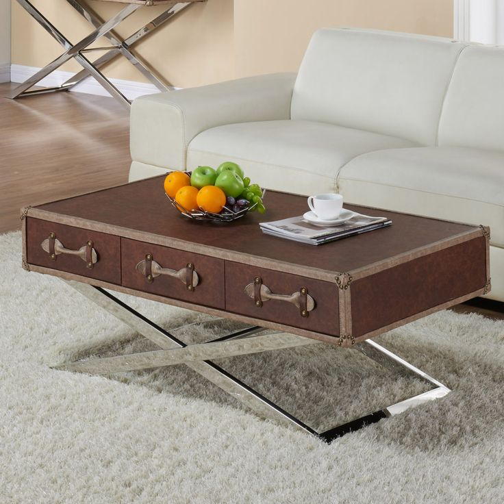 Esquire Faux Leather Coffee Table  http://inspireathome.com/esquire-faux-leather-coffee-table-in-brown.html
