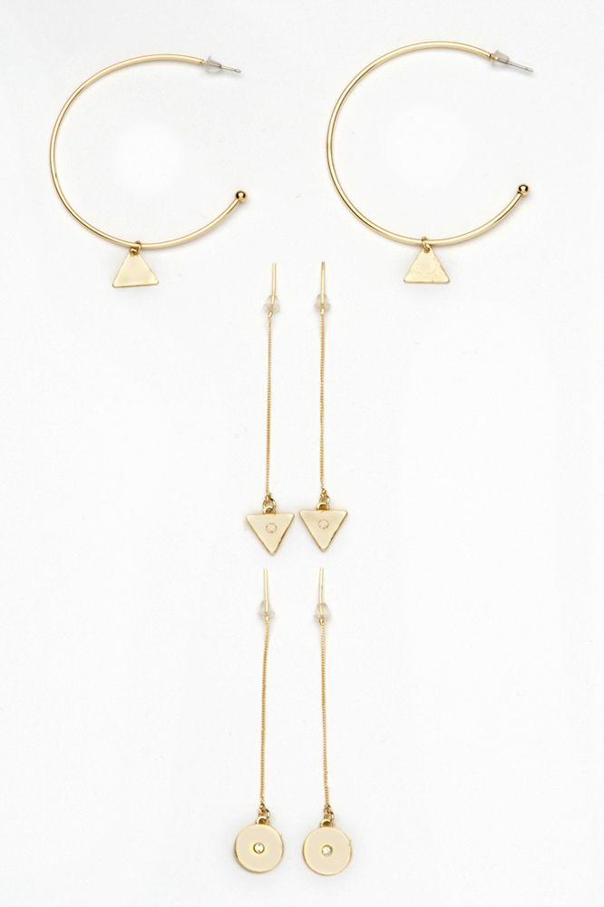 Hoop and Pendant Earring Set