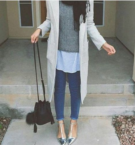 long grey coat hijab chic style- Fall hijab outfits in warm colors…