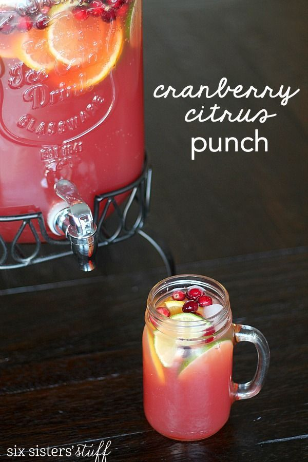 Cranberry Citrus Punch Recipe  on SixSistersStuff.com | The perfect punch for Thanksgiving or Christmas for a crowd!