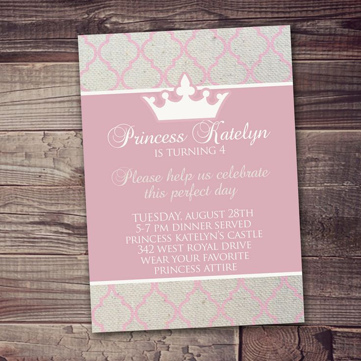 quick ship customized Princess Invitation princess Party