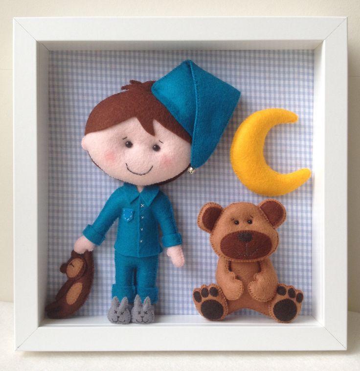 Baby Decorative Frame-Child Frame Decoration-Boy and Bear Frame-Nursery Decor-Handmade Doll-Wall Decor-Box Frame by feltncuddles on Etsy
