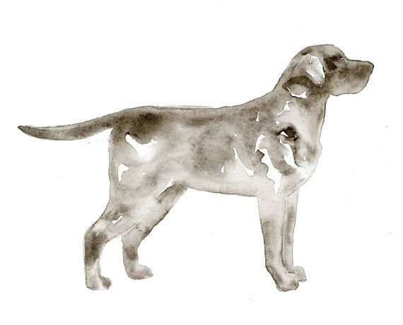 Labrador Retriever Watercolor Silhouette by WhiskeredPaintings