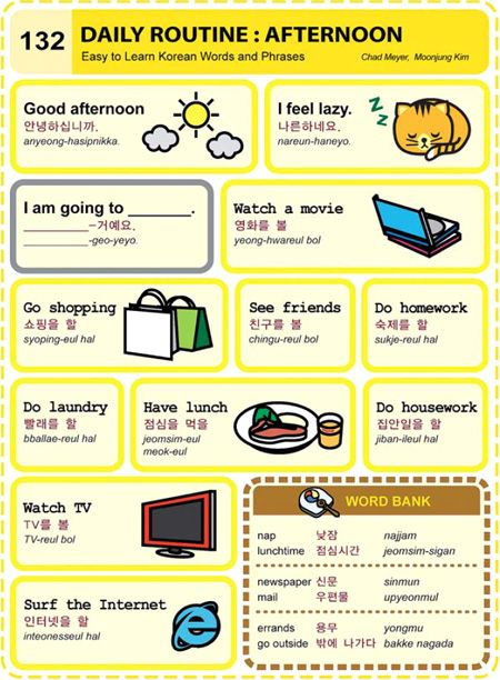 132 learn korean hangul Daily Routine: Afternoon Credit : Korean Times