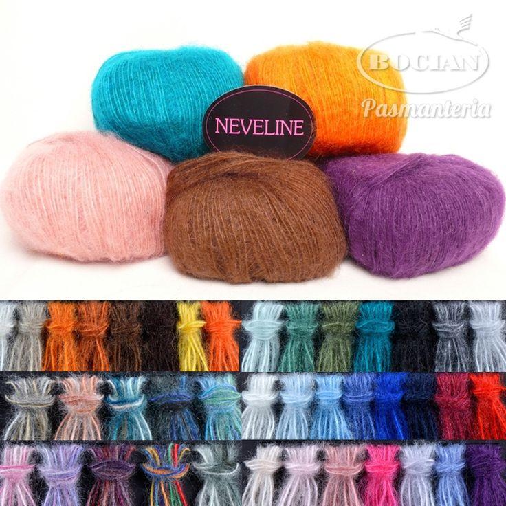 Włóczka Neveline - 60% moher 40% akryl 50g/150m - Pasmanteria BOCIAN - sklep z włóczkami, tkaninami, wełną, filcem. Dzianiny, wełna, włóczki, filc