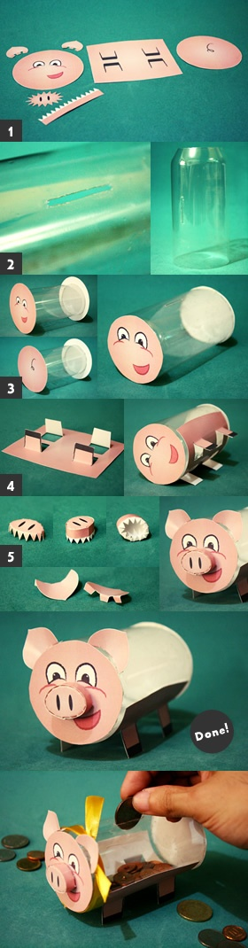 Recycled Piggy Bank Craft Steps