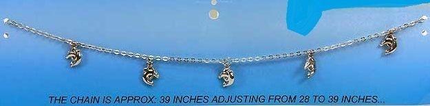 Chaine taille femme-bijoux-métal argenté-pampilles-breloques dauphin réglable