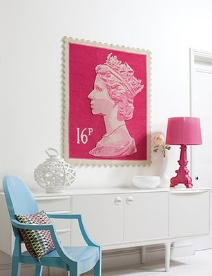 Queen Elizabeth 2 stamp rug. I think this would look amazing in an office or workspace. Via Mr Rothschildt