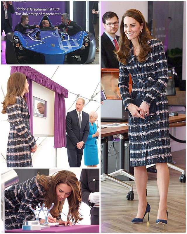 The Duke and Duchess visited The National Graphene Institute at the University of Manchester where they were shown some of the world's leading research facilities and applied technology.  The institute is focused on the research of graphene, a thin layer of carbon. Graphene has captured scientists attention due to its incredible thinness yet remarkable strength (it is 200 times stronger than steel yet it is the thinnest material possible). They had the opportunity to tour the…