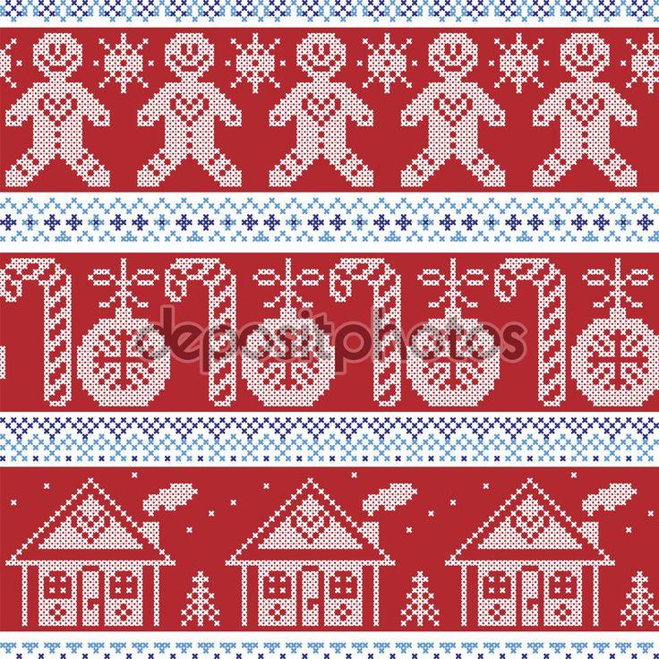 Downloaden - Donker blauw, licht blauw en rood Scandinavische Noordse naadloze patroon met speculaaspop, riet van het suikergoed van Kerstmis snoep, ontbijtkoek huis, xmas bomen, hart, kerstballen, sterren, sneeuwvlokken in kruissteek — Stockillustratie #83145932