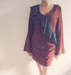 Swish My Swag nasty gal 70's wide sleeve dotty frill brown black ruffle dress