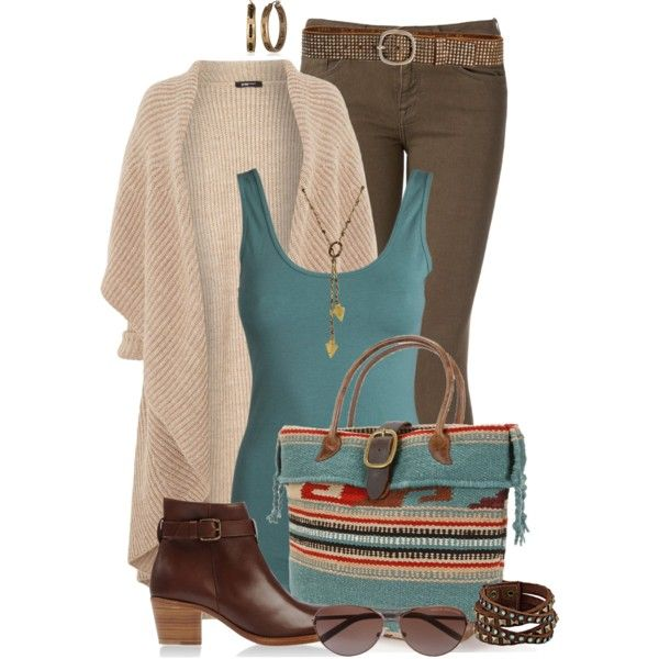 Long Cardigan with Tribal Print Bag, created by cathy0402 on Polyvore