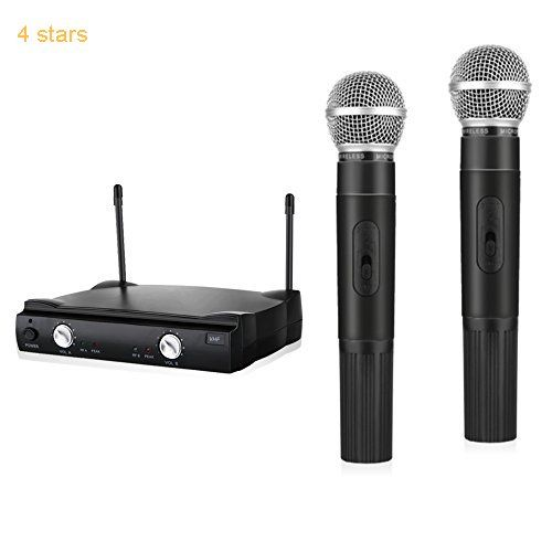 ARCHEER VHF Wireless Microphone System Professional Karaoke Mixer with Dual Handheld Microphones Fixed Frequency