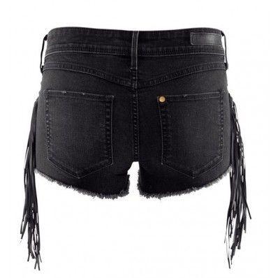 Side Pu Tassels Decor Fashion Denim Shorts