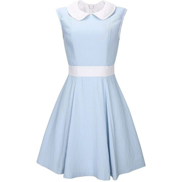 Anni Coco Women's Lovely Peter Pan Collar Vintage Party Dresses Small... ($0.50) ❤ liked on Polyvore featuring dresses