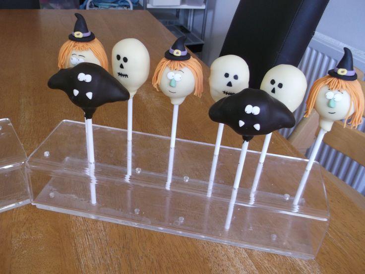 Halloween cake pops - bats, skulls and witches x www.facebook.com/fireflycakes