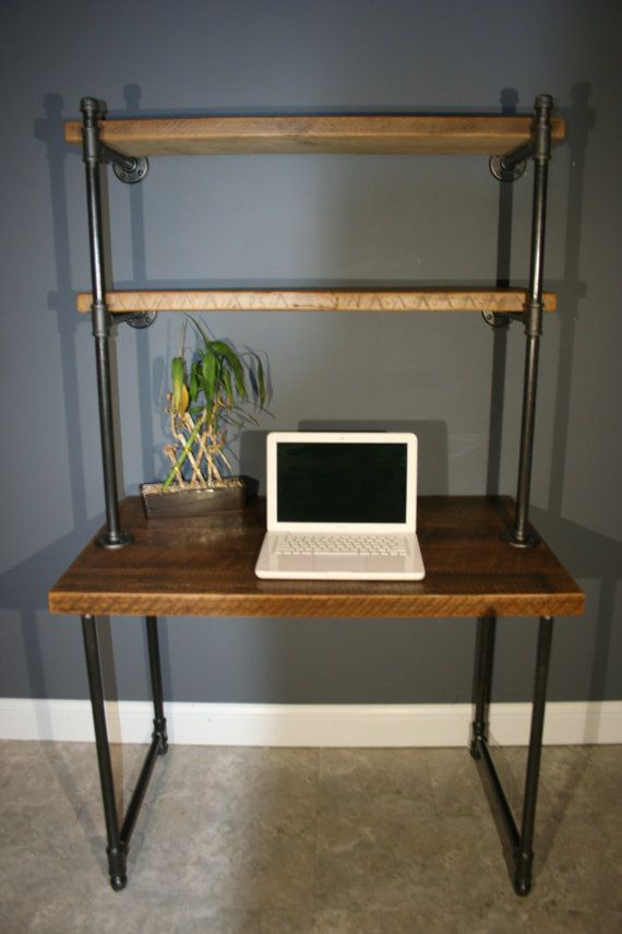 Reclaimed Urban Wood Computer Desk w/ built in Shelves Attatch to the wall - Gas pipe Leg base - FAST Shipping - 20% Off Item