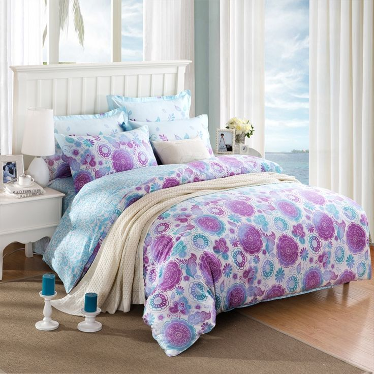 Purple Aqua and White Folk Pattern Circle Print Tropical Flower Hawaiian Style Reversible 100% Cotton Twin, Full Size Bedding Sets
