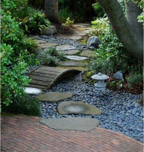 Dry creek bed with bridge Garden Ideas Pinterest