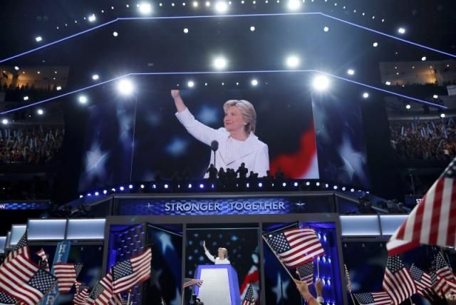 Democratic U.S. presidential nominee Hillary Clinton accepts the nomination on the fourth and final night at the Democratic National Convention in Philadelphia, Pennsylvania, U.S. July 28, 2016. REUTERS/Mark Kauzlarich