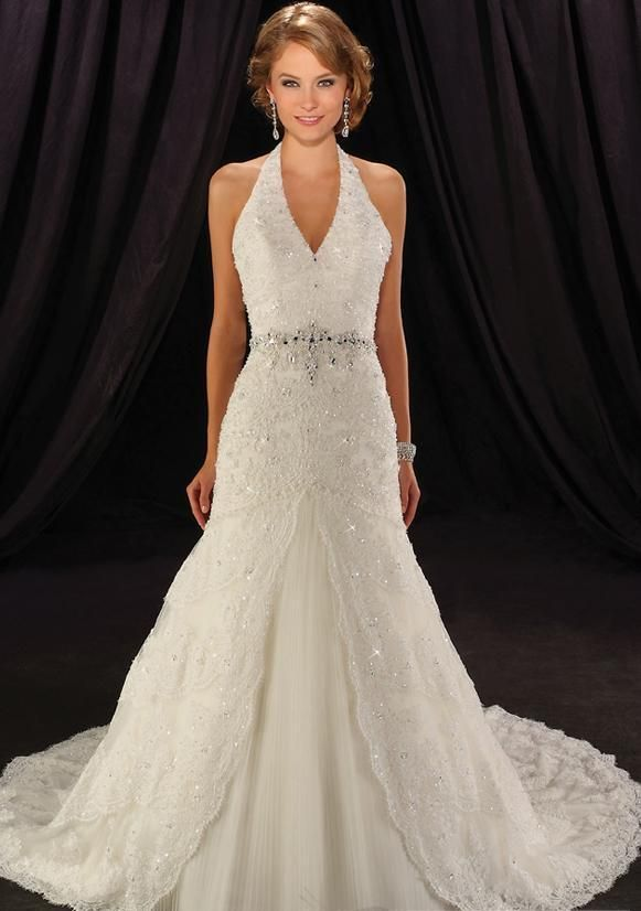 Wedding Dresses Laces Trumpet Empire Halter Cathedralsatin Bridal Gown