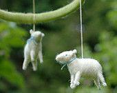 Made to Order - Small Cascading Rainbow Mini Sheep Mobile - Needle Felted Nursery Decor. $110.00, via Etsy.
