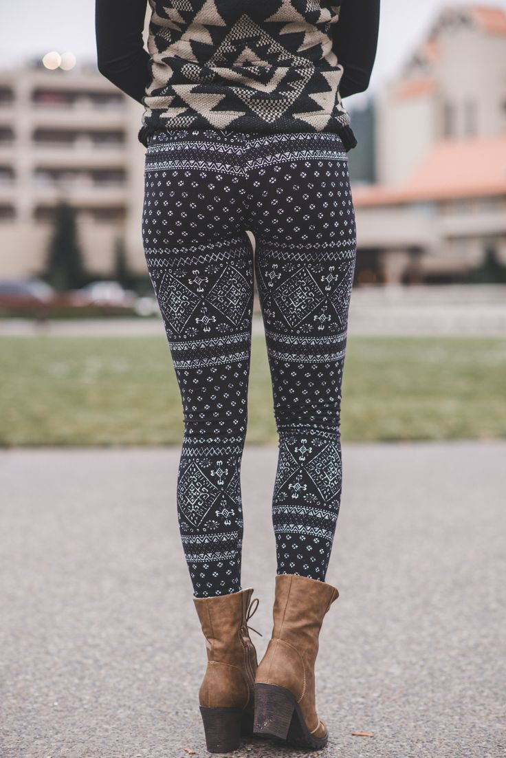 Ancient Aztec Printed Leggings-Black - NanaMacsBoutique  - 2