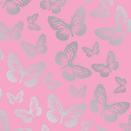 Butterfly Pink Wallpaper 10m  Use this fabulous Butterfly Pink Wallpaper to create a butterfly theme in any room. Made from high quality paper, the design features lots of metallic silver butterflies on a pretty pink background. Easy to apply, this wall paper will look great when used to decorate a whole room or when used to create a feature wall. High quality butterfly themed wallpaper Metallic silver detailing 10 metres (32.8 feet) long, 53cm (20.5 in) wide 53cm pattern repeat Easy to…