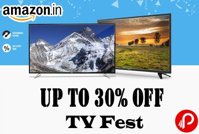 Amazon brings #TV_Fest and offering Upto 30% off on LED Televisions. Wide selection of LCD TVs, LED TVs, 3D TVs, Smart TVs, HD Ready TVs, Ultra HD TVs and Full HD TVs.  http://www.paisebachaoindia.com/tv-fest-upto-30-off-amazon/