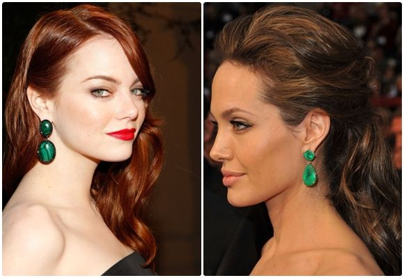 Emma Stone And Angelina Jolie With Beautiful Green Drop Earrings Who Love Emerald Pinterest