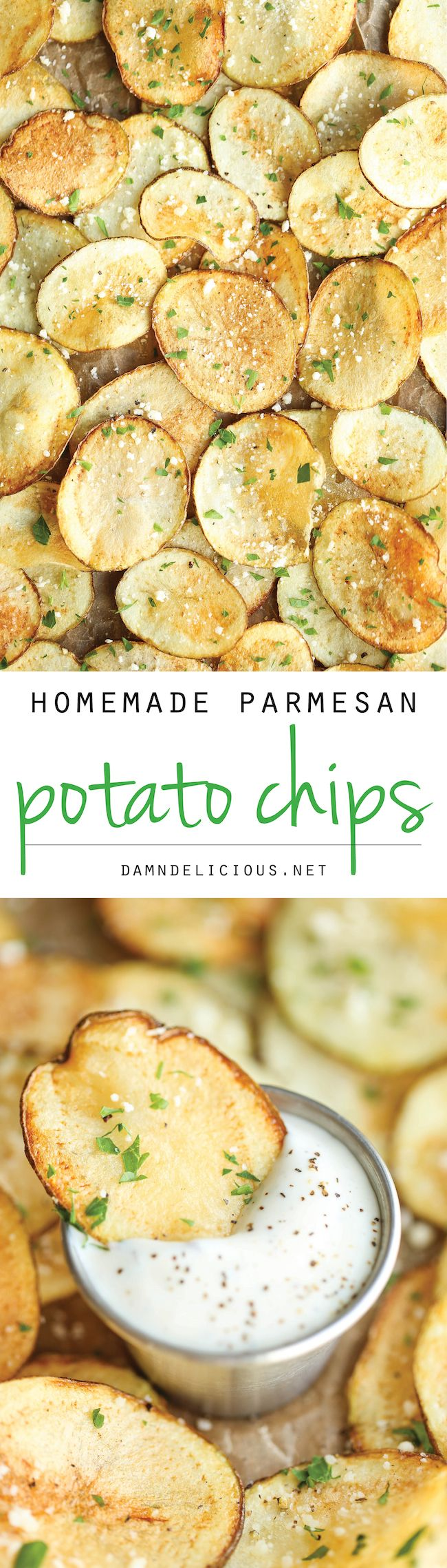 Homemade Parmesan Potato Chips - The easiest and cheapest DIY potato chips loaded with Parmesan goodness - and yes, it tastes 100x better than store-bought!