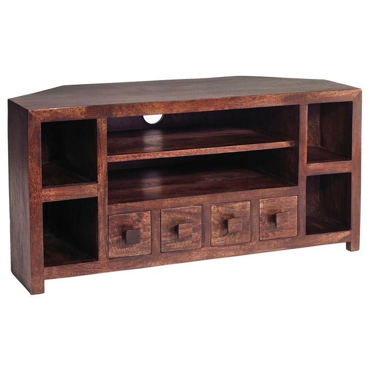 Corner TV Stand Unit Natural Walnut Finish Storage Living Room Wooden Furniture
