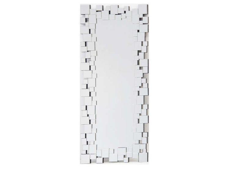 miroir 56x133 cm - Miroir Mural Blanc Simili Cuir Strass