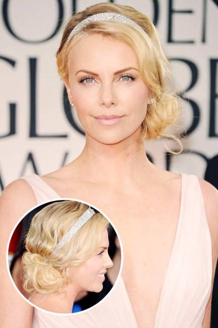 Great up-do for short hair. Headband with side bun twist. Sparkly chic!